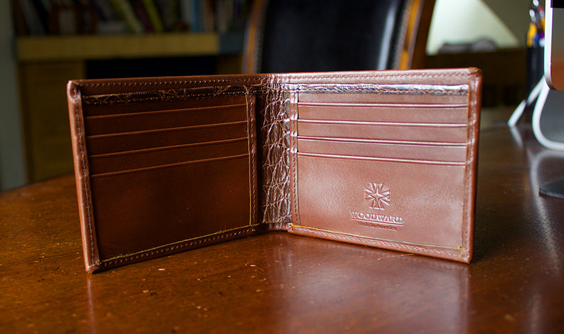 Men's Designer Brown Leather Bifold Wallet in French Calf and Alligator