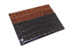 Black and Cognac Alligator Card Holder