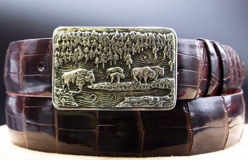 """Colorado"" Limited Edition Sterling Silver Buckle with Chocolate Alligator Belt"