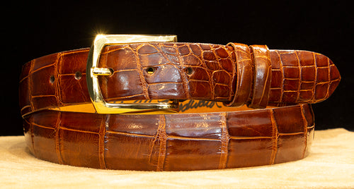 Cognac Alligator Dress Belt