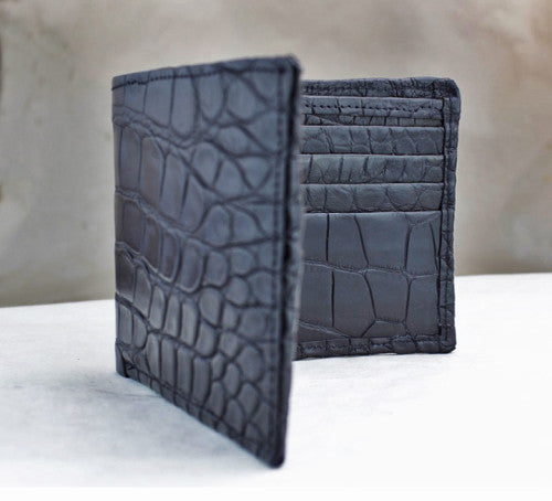 "Black Matte ""President"" Full Alligator Wallet"
