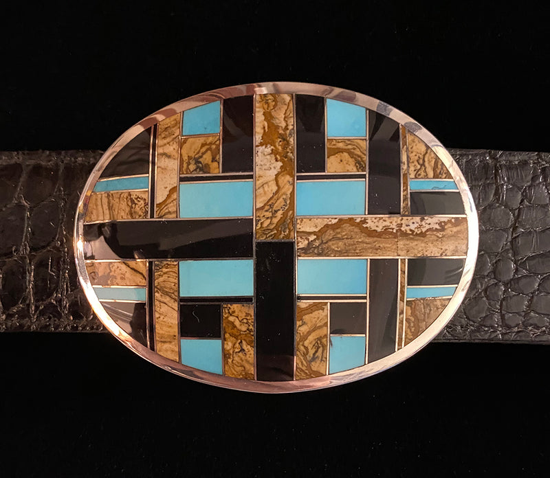Onyx and Turquoise Oval Sterling Silver and Stone Inlay Belt Buckle