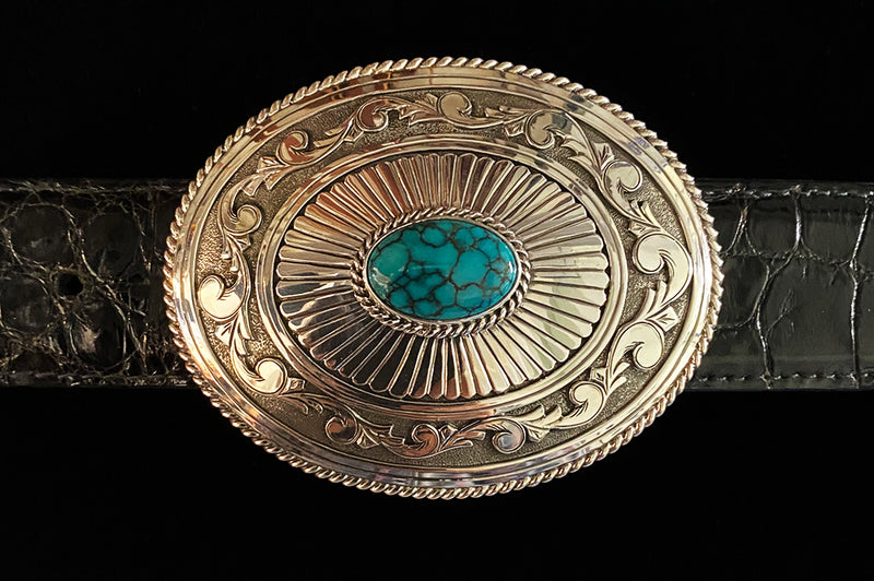 Turquoise and Sterling Silver Oval Buckle