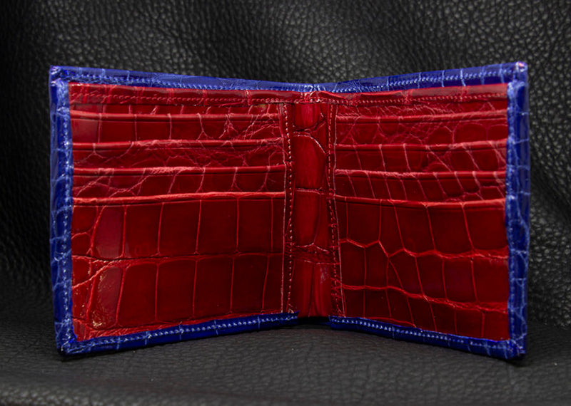 "Blue and Red ""President"" Full Alligator Wallet"