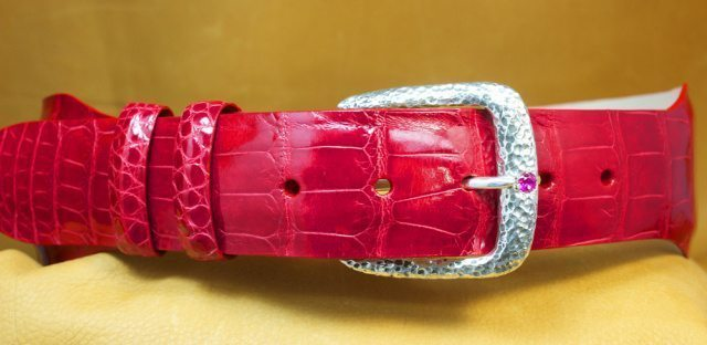"Women's Red Alligator Belt with ""Ruby"" Buckle"