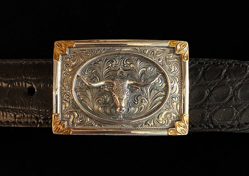 "Vogt ""Horns"" Sterling Silver and Gold Buckle"
