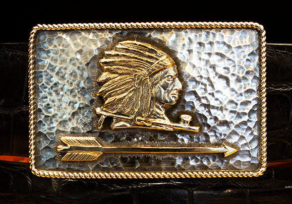 "Clint Orms ""Zapata"" Sterling Silver and 14k Gold Buckle"