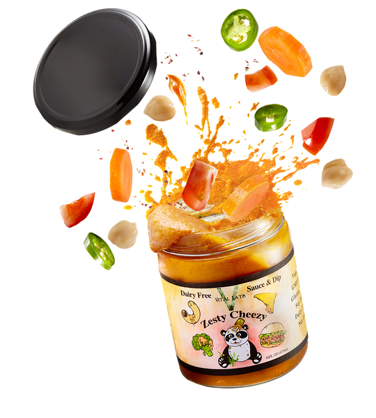 Zesty Cheezy   Tomato, vegetables and chickpea come together to pack amazing creamy, tangy flavor. Dip like queso, make nachos, or pour like a sauce on pasta, veggies, burgers and more. So-Cheezy is the first cheese dip and sauce alternative that is nut, soy, dairy, and filler free! .