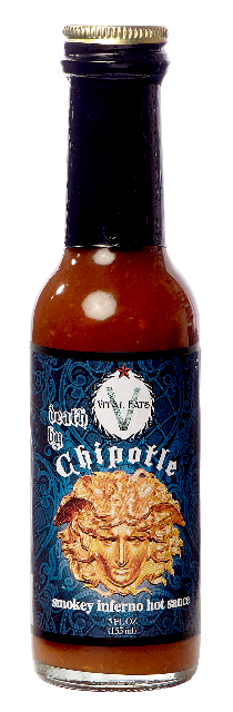 Death by Chipotle incorporates aged Chipotles with the extra kick of Ghost peppers make this hot sauce pop! High heat Level.  Rich, smoky, chocolate notes with a complex, silky heat.