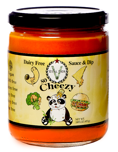So-Cheezy   Tomato, vegetables and chickpea come together to pack amazing creamy, tangy flavor. Dip like queso, make nachos, or pour like a sauce on pasta, veggies, burgers and more. So-Cheezy is the first cheese dip and sauce alternative that is nut, soy, dairy, and filler free! .