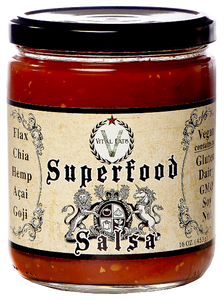 Superfood Salsa is a smoky, tangy, gourmet, classic salsa packed with Flax, Chia, Hemp seeds, Acai & Goji.