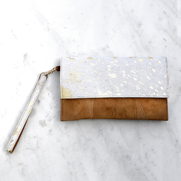 Speckled Metallic Hide Wristlet