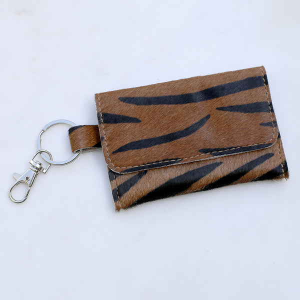 Tiger Print Hide Keychain Wallet