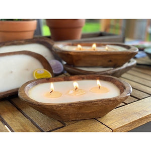 Carved wooden bowl soy candle