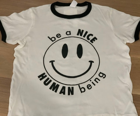 be a NICE HUMAN being - Youth Unisex T-Shirt White