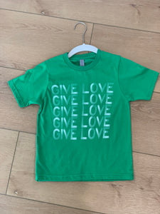 Give Love youth t-shirt green