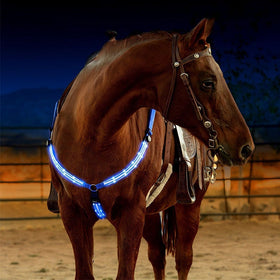Outdoor Horse Breastplate Dual LED Horse Harness Nylon Night Visible Horse Riding Equipment