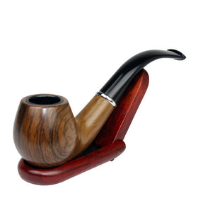 Classic Wood Grain Resin Pipe Chimney Filter Long Smoking Pipes