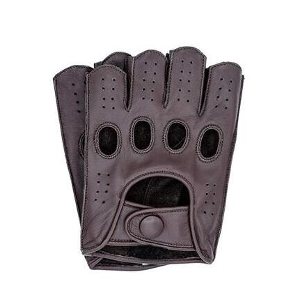 High Quality New Half Finger Men Genuine Leather Gloves