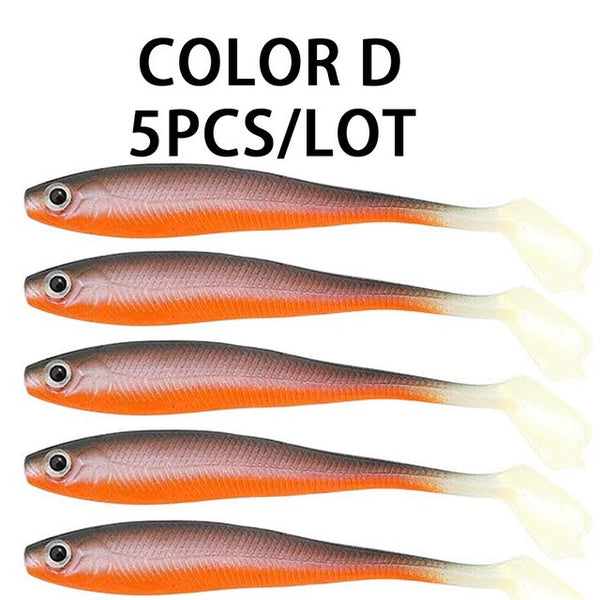 JACKFISH T Tail Soft Simulation Lures 100mm/5g Silicone Bait Colorful Carp Artificial Bait 1Pcs Fishing Lures Fishing Tackle