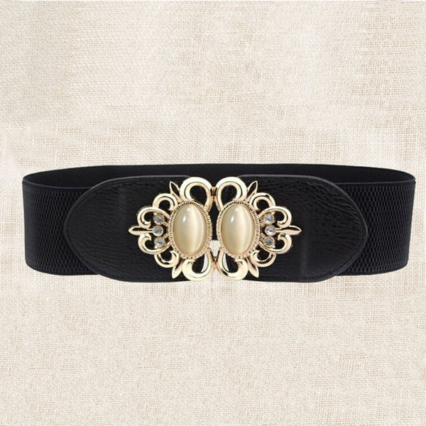21 types New Women Elastic Wide Belt Thick Vintage Totem Print Stretch Leather Waist Belt For Dress Corset