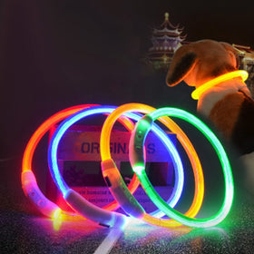 Dog Safety LED Collar USB Charging LED Tube Flashing Night Collars Luminous Necklace Puppy Cats Dogs Dark Decoration Supplies