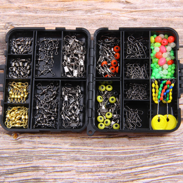 182pcs fishing swivels snap rolling connector float stopper fishing beads combo with black fishing box for fishing tackle