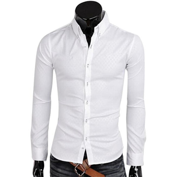 1Pcs Casual Cotton Men's Tops Button Slim Fit Lattice Long Sleeve New Fashion Dark Plaid Long Sleeve Shirt Turn-down Collar