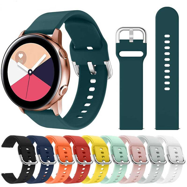 20mm22mm Soft Silicone Watchband for Samsung Galaxy Watch Active 42mm Gear S2 Sport Waterproof