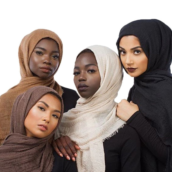 Muslim Women Crinkle Hijab Scarf Soft Solid Cotton Head ScarvesTurban Shawls and Wraps hijab