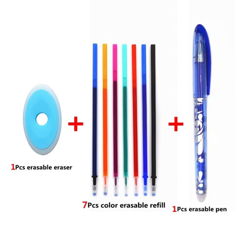 Erasable Pen Set Blue Black Color Ink Writing Gel Pens Washable handle