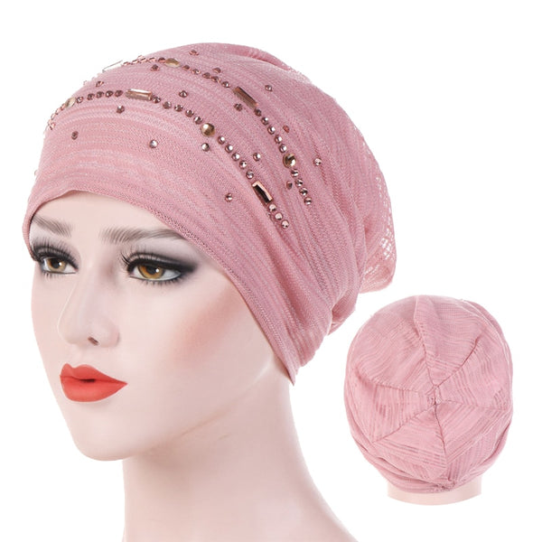 Summer Thin Lace Turban Solid Cotton Inner Hijab Caps Soft Glitter Muslim Women Turbante Bonnet Wrap Head