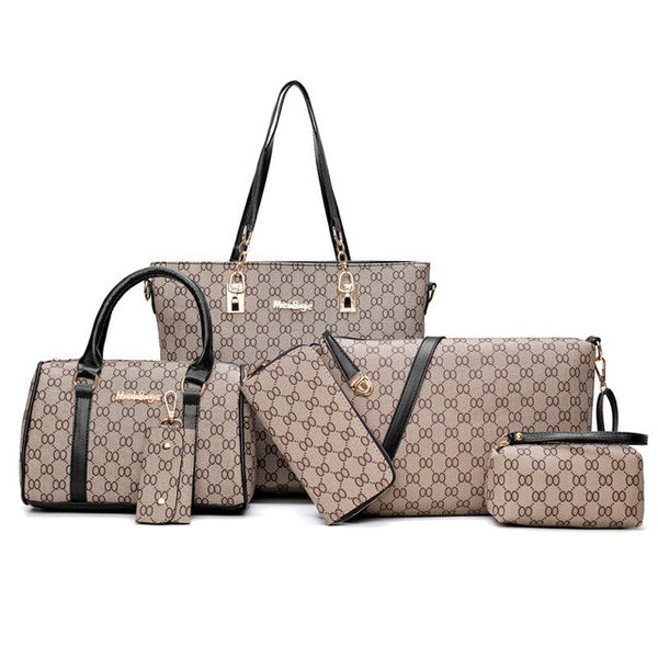 6PCS Women's Bag Set Fashion PU Leather Ladies Handbag