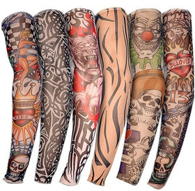 Unisex UV Protection Outdoor Temporary Fake Running Arm Tattoo Sleeve Skin