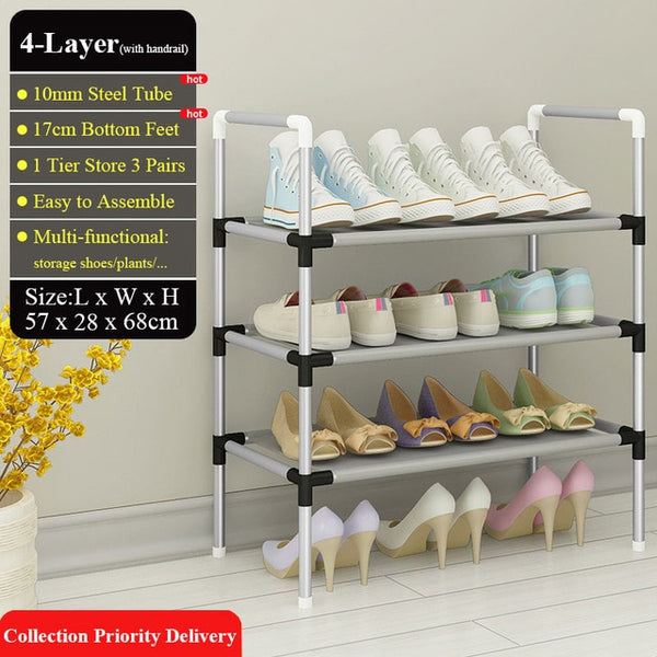 Easy Assemble Shoe Rack Sneakers Stand Boots Rack Portable Space-saving Home Dorm Stand Holder Metal Shoe Shelf with Handrail
