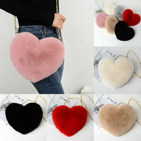 Women Fashion Heart Shaped Bag Female Chain Plush Love Shoulder Crossbody Bag