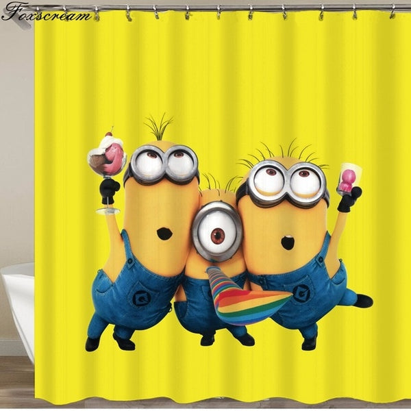 Yellow Shower Curtains Mischievous Minions Series Shower Curtains