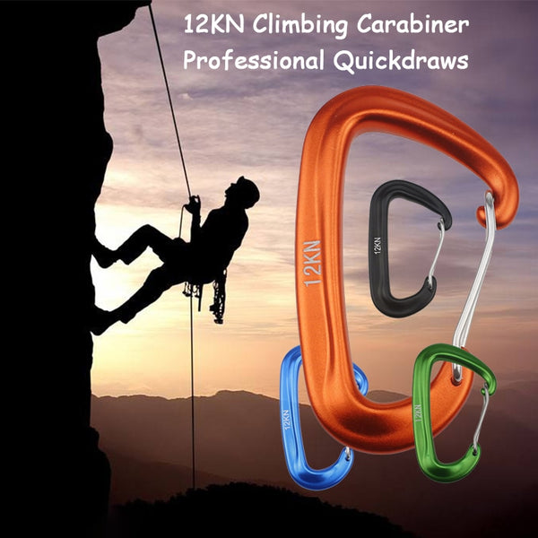 Professional Climbing Carabiner D Shape Mountaineering Buckle Hook 12KN Safety Lock Outdoor Climbing