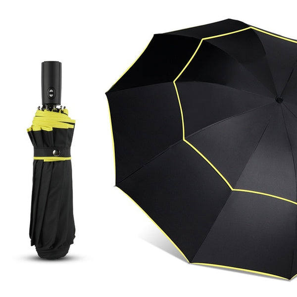 120CM Automatic Double Rain Men Women 3Folding Wind Resistant Large Umbrella