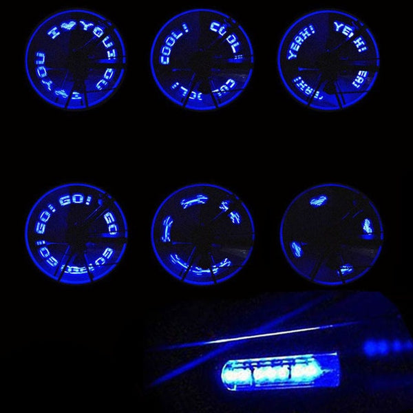 Practical Bike Bicycle Wheel Valve Tire Tyre LED Letter Light Double Sense Waterproof Cycling Bike Tire Blue Flash Light