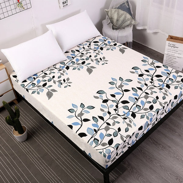 MECEROCK New Printing Bed Mattress Cover Waterproof Mattress Protector Pad Fitted Sheet