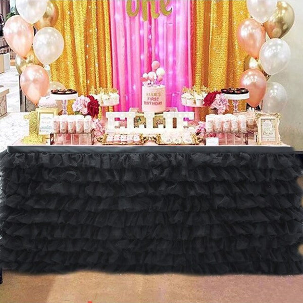 Wedding Party Tulle Tutu Table Skirt Tableware Birthday Baby Shower Xmas Decor