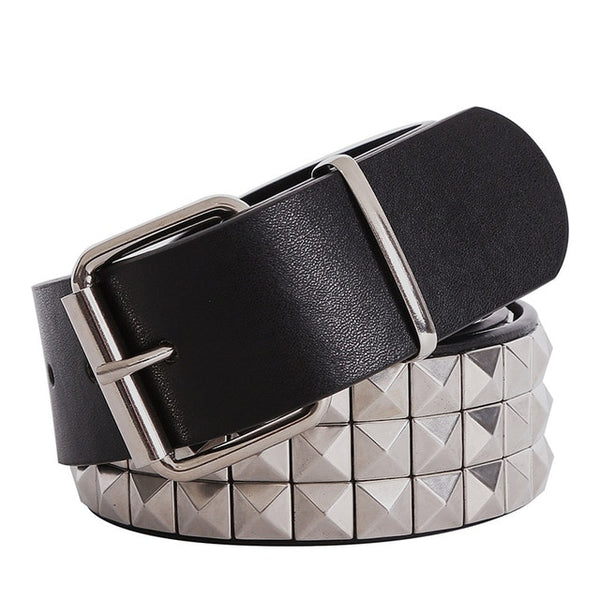 Shiny Pyramid Fashion Rivet Belt Men&Women's Studded Belt