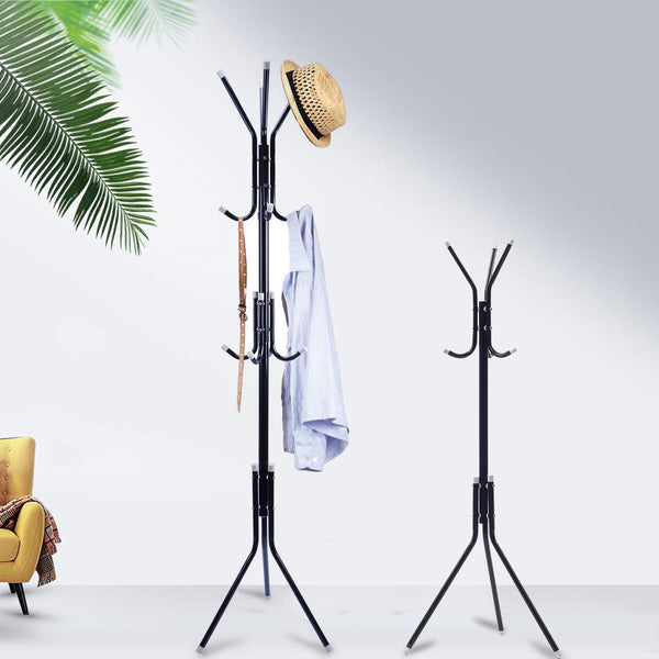 6/9 Hooks Metal Stand Coat Rack for kids Adult Tree Hat Jacket Umbrella Cloth Hanger