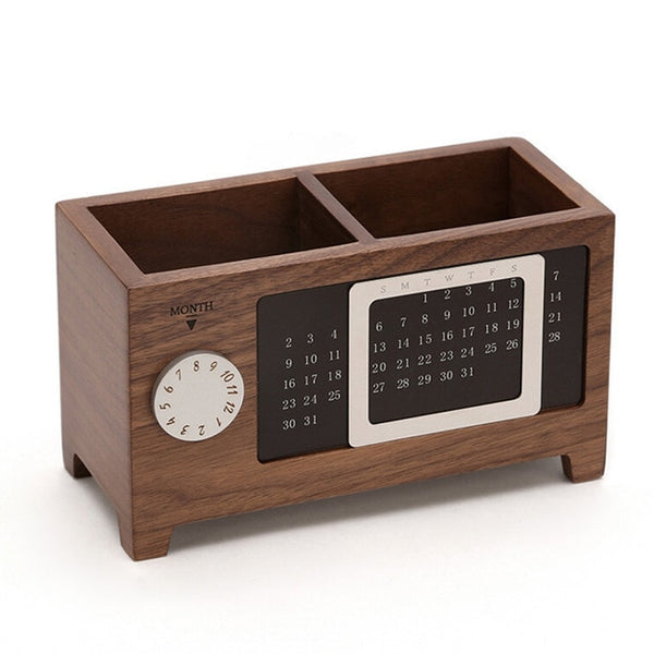 Multifunctional Wooden Office Organizer With Calendar Ornaments Desk Organizer
