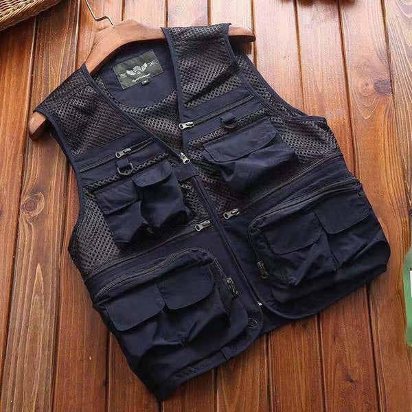 Outdoor Summer Tactical Fishing Vest jackets men Safari Jacket Multi Pockets