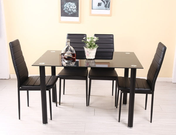 Panana Dining table set with 4/6 pcs Chairs Faux Leather High Metal Leg