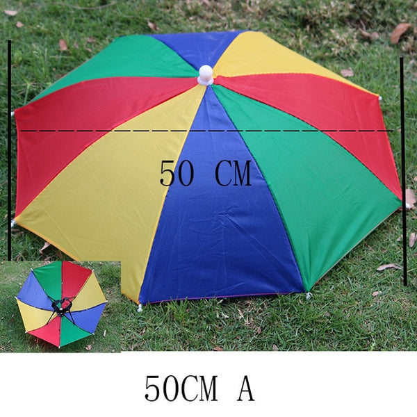 YADA Outdoor Umbrella Hat Novelty Foldable Sun Day Rainy Day Hands Free Rainbow Folding & Waterproof Multicolor Hat Cap YS0018