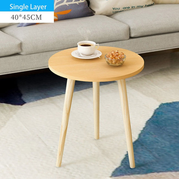 Creative Nordic Wood Low Round Coffee Table Dirty Storage Table Tea