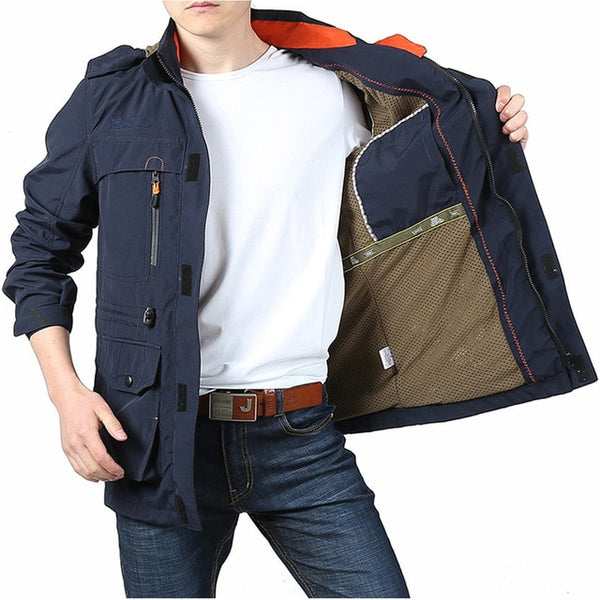 Bomber Jacket Men Autumn Winter Multi-pocket Waterproof Military Tactical Jackets